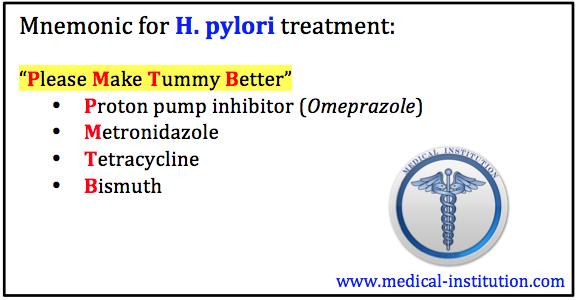 H. pylori treatment mnemonic