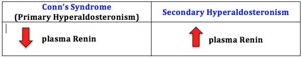 Conn's syndrome (primary hyperaldosteronism) vs Secondary hyperaldosteronism