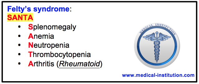 Felty syndrome mnemonic - Medical Institution
