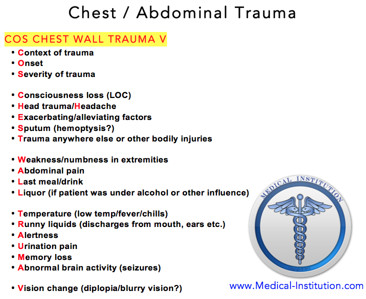 Chest Wall/Abdominal Wall Trauma - USMLE Step 2 CS Mnemonics