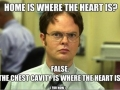 Where the heart is according to Dwight from The Office - Funny Medical Pictures