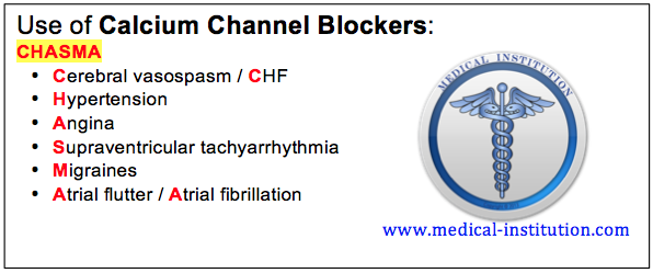 Use of Calcium Channel Blockers Mnemonic