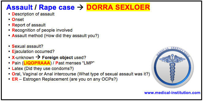 Assault Rape Mnemonic USMLE Step 2 CS Mnemonics