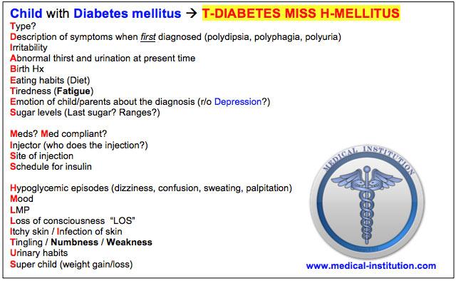 Child with Diabetes Mellitus Mnemonic-USMLE Step 2 CS mnemonic - Medical Institution