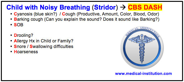 Child with Noisy Breathing (Stridor)  USMLE step 2 cs mnemonics - Medical Institution
