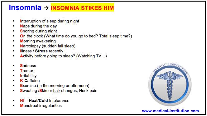 Insomnia Sleeping Problem Mnemonic - USMLE Step 2 CS